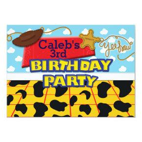 Cowboy Yee Haw Western Birthday Party Invitations