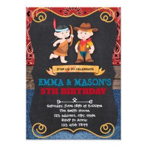 Cowboys and Indians birthday invitation