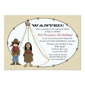 Cowboys and Indians Birthday Party Invitations