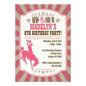 Cowgirl 8th Birthday Party Girl Invitation