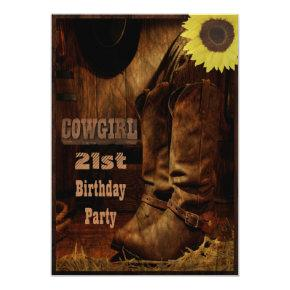 Cowgirl Any Age Birthday Rustic Country Western Invitations