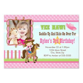Cowgirl Birthday Invitation  Brunette