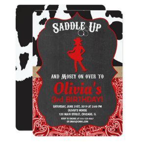 Cowgirl birthday invitation black red cow print