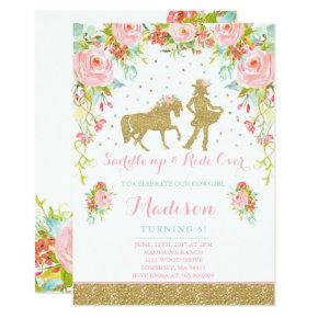 Cowgirl Birthday Invitations Floral Pink Mint Gold