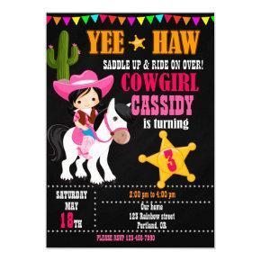 Cowgirl birthday invitation Wild west western 1st