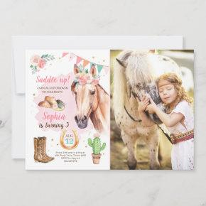 Cowgirl Birthday Invite Girl Horse Pink Watercolor