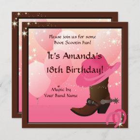 Cowgirl Birthday Party Boot Scottin Custom Invitation