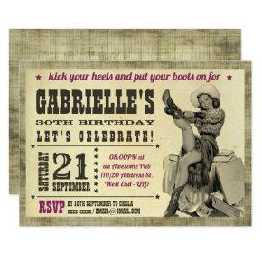 Cowgirl Pinup Country Birthday Party Invitations