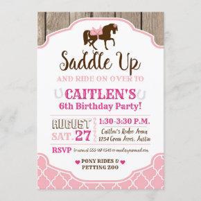 Cowgirl Princess Saddle Up Pony Birthday Invitation