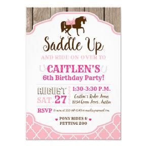 Cowgirl Princess Saddle Up Pony Birthday Invitation