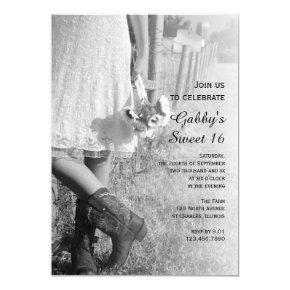 Cowgirl Sunflowers Country Western Sweet 16 Party Invitations