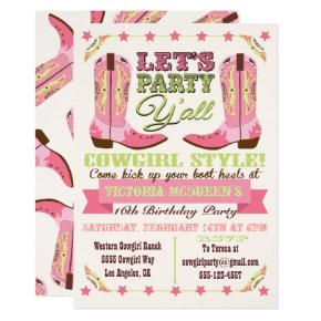 Cowgirl Western Birthday Party Invitations