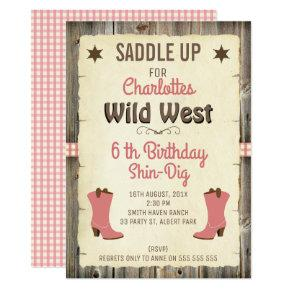 Cowgirl Wild West Gingham Birthday Invitation