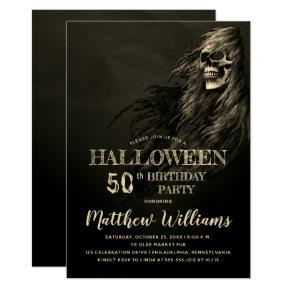 Creepy Hair Skull Halloween 50th Birthday Party Invitation