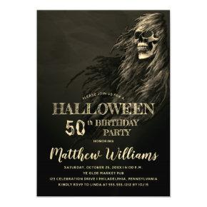 Creepy Hair Skull Halloween 50th Birthday Party Magnetic Invitation
