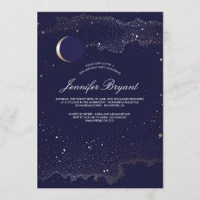 Crescent Moon and Night Stars Birthday Party Invitation