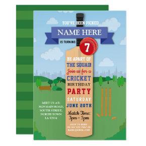 Cricket Birthday Party Sports Winner Match Invitation