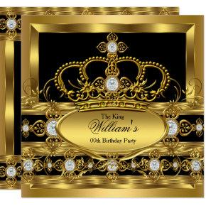 Crown King Prince Queen Royal Gold Diamond Party Invitation