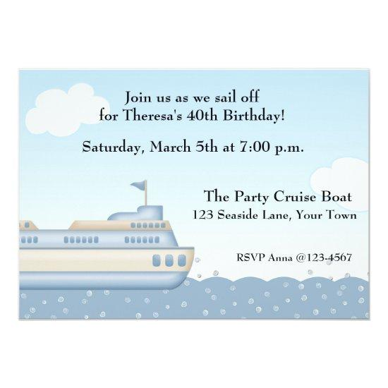 cruise boat nautical themed invitations candied clouds