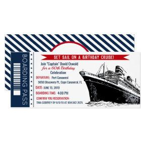 Cruise Ship Boarding Pass Birthday Invitation