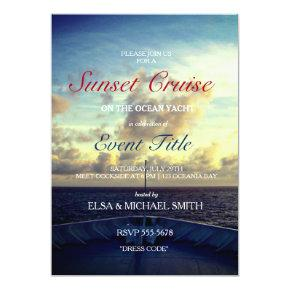 Cruise Ship Yacht Boat Sunset Party Custom Invites