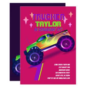 CRUSHING IT Monster Truck Neon Birthday Party Pink Invitation