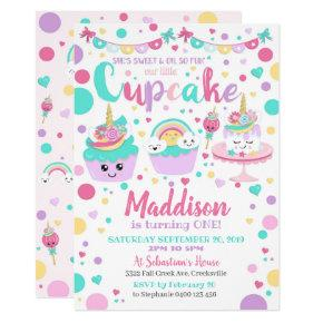 Cupcake 1st Birthday Invitation - Unicorn Cupcake