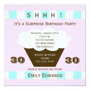 Cupcake 30th Surprise Birthday Party Invitation
