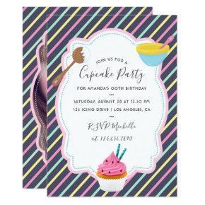 Cupcake Baking Birthday Party add photo invitation