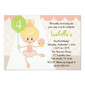 Cupcake Ballerina Birthday Invitations Blonde