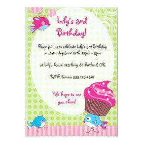 Cupcake Birdie Birthday Invites