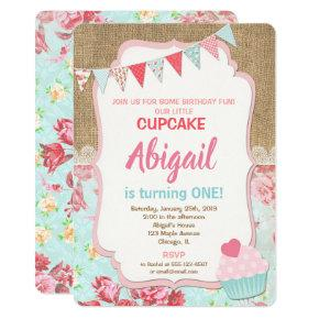 Cupcake birthday invitation girl 1st birthday