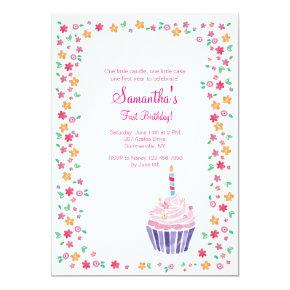 First cupcake party birthday invitations candied clouds cupcake birthday party invitations filmwisefo