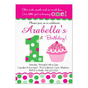 Cupcake Cutie Pie (Pink & Green) First Birthday Invitation