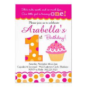 Cupcake Cutie Pie (Pink & Orange) First Birthday Invitations