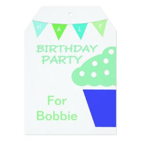 Cupcake Half Birthday Party Invitations