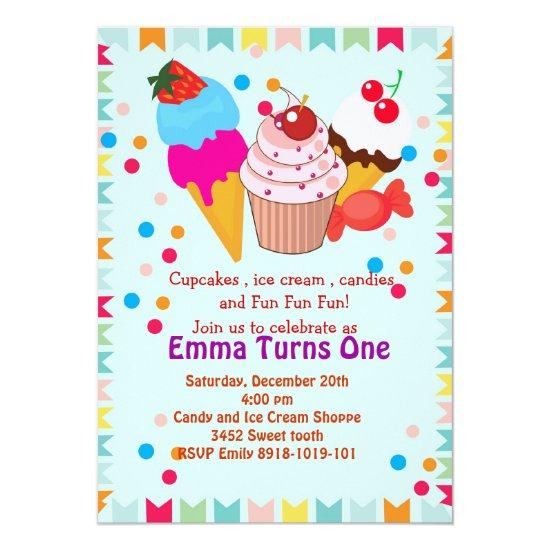 Cupcake icecream candy birthday party invitation – Candied