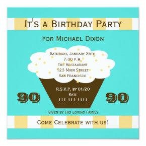 Cupcake on Aqua 90th Birthday Party Invitation