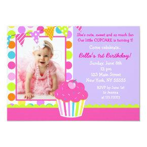 Cupcake Photo Birthday Party Invitation
