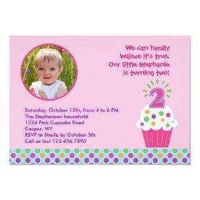 Cupcake Second Birthday Party Photo Invitations