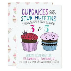 Cupcake & Stud Muffin Joint Party Invitation