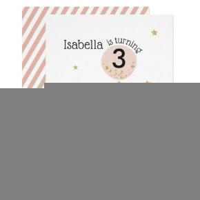 Cupcakes & Balloon | Faux Glitter Child's Birthday Invitation