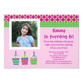 Cupcakes Photo Birthday Girl Invitations