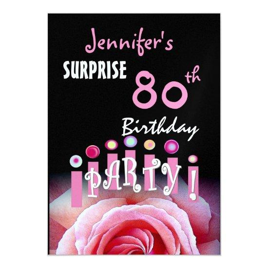 Custom 80th SURPRISE Birthday Party Invitation