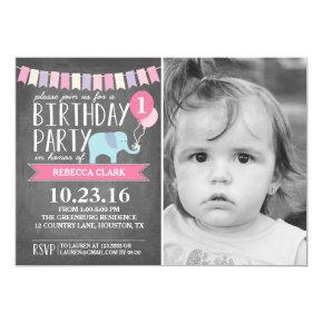 Custom Age Elephant Birthday Party   Birthday Card