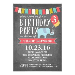 Custom Age Elephant Birthday Party | Birthday Invitations