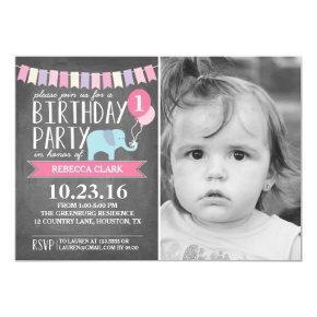Custom Age Elephant Birthday Party | Birthday Invitation