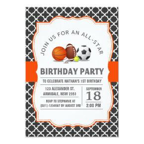 Custom an all-star quatrefoil sport birthday party invitation