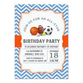 Custom an all-star sport birthday party Invitations