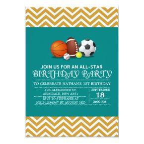 Custom an all-star sport birthday party Invitations